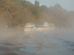 Passing Bobby's Fish Camp in the morning fog