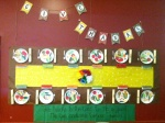 Children's nutrition projects display healthy foods.
